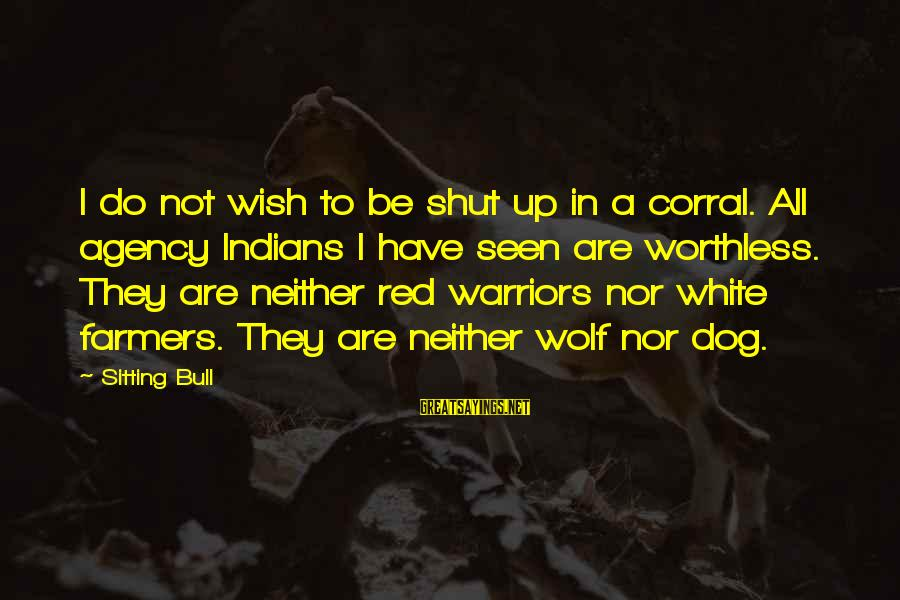 White Wolf Sayings By Sitting Bull: I do not wish to be shut up in a corral. All agency Indians I