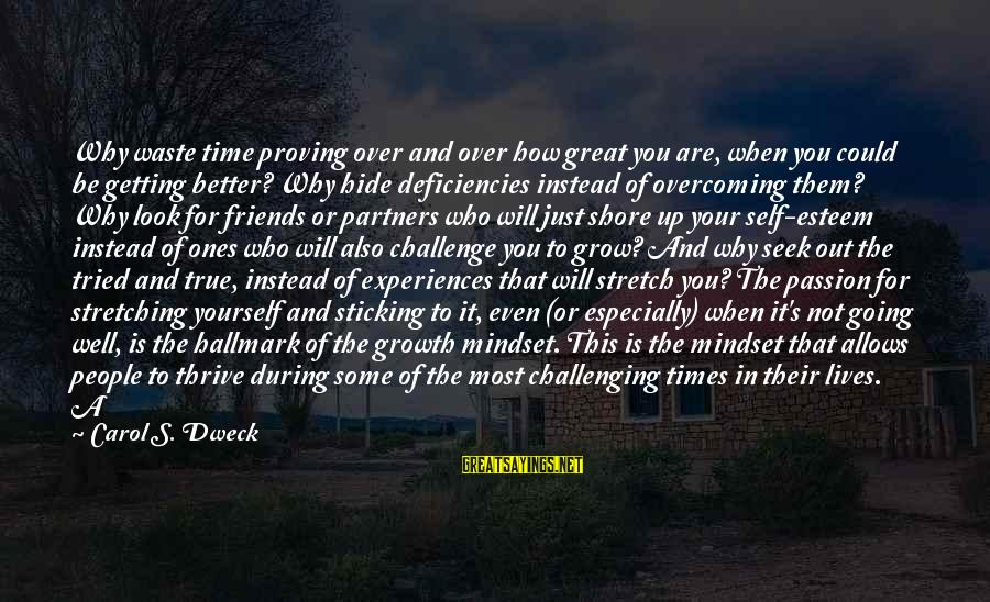Who Are True Friends Sayings By Carol S. Dweck: Why waste time proving over and over how great you are, when you could be