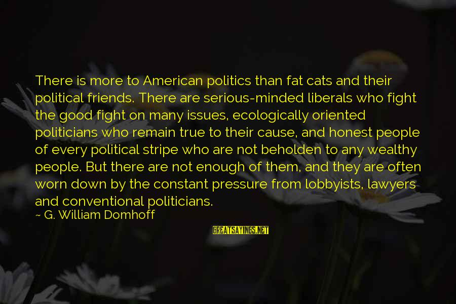 Who Are True Friends Sayings By G. William Domhoff: There is more to American politics than fat cats and their political friends. There are