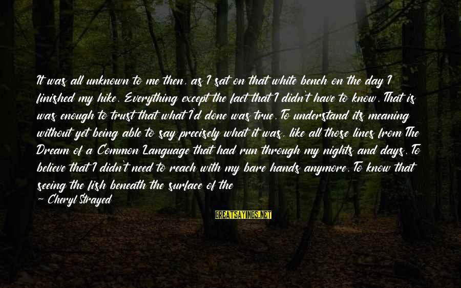 Wild By Cheryl Sayings By Cheryl Strayed: It was all unknown to me then, as I sat on that white bench on