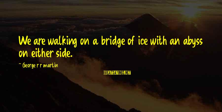 William Poundstone Sayings By George R R Martin: We are walking on a bridge of ice with an abyss on either side.