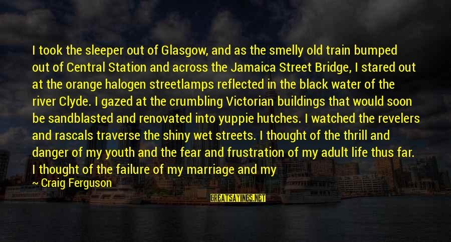 Window Reflection Sayings By Craig Ferguson: I took the sleeper out of Glasgow, and as the smelly old train bumped out