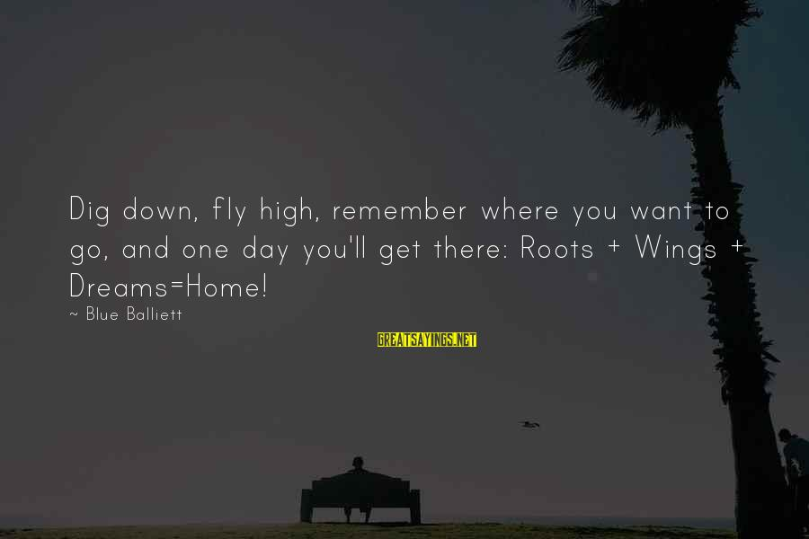 Wings To Fly Sayings By Blue Balliett: Dig down, fly high, remember where you want to go, and one day you'll get