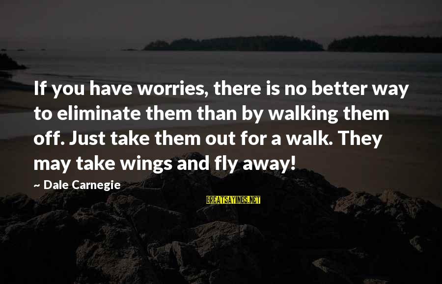 Wings To Fly Sayings By Dale Carnegie: If you have worries, there is no better way to eliminate them than by walking