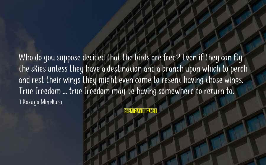Wings To Fly Sayings By Kazuya Minekura: Who do you suppose decided that the birds are free? Even if they can fly