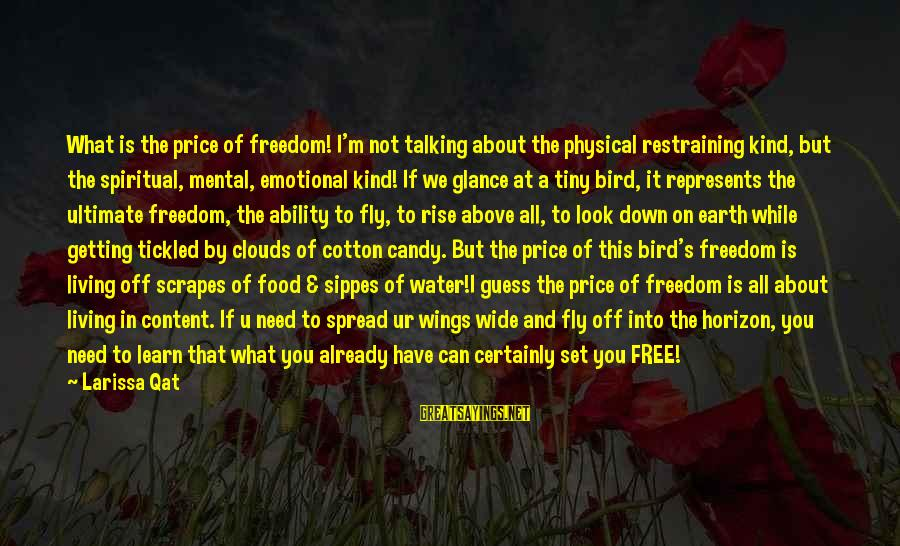 Wings To Fly Sayings By Larissa Qat: What is the price of freedom! I'm not talking about the physical restraining kind, but