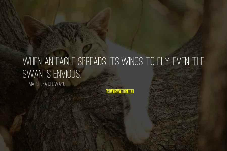 Wings To Fly Sayings By Matshona Dhliwayo: When an eagle spreads its wings to fly, even the swan is envious.