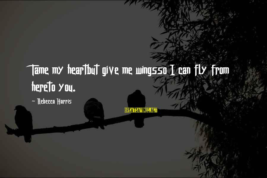 Wings To Fly Sayings By Rebecca Harris: Tame my heartbut give me wingsso I can fly from hereto you.