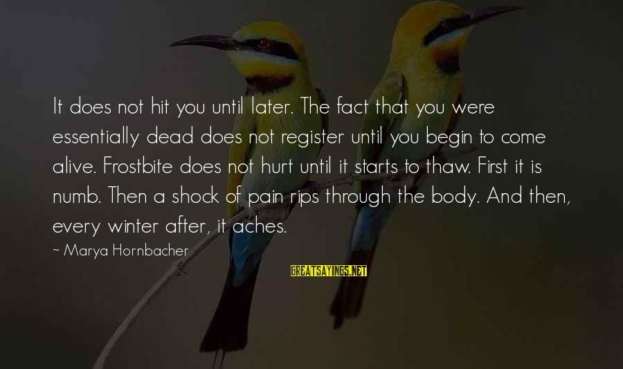 Winter Thaw Sayings By Marya Hornbacher: It does not hit you until later. The fact that you were essentially dead does