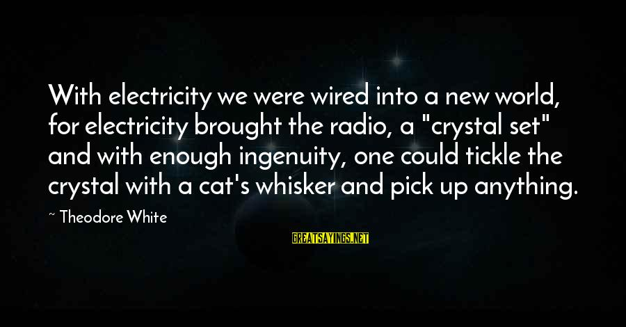 Wired Sayings By Theodore White: With electricity we were wired into a new world, for electricity brought the radio, a