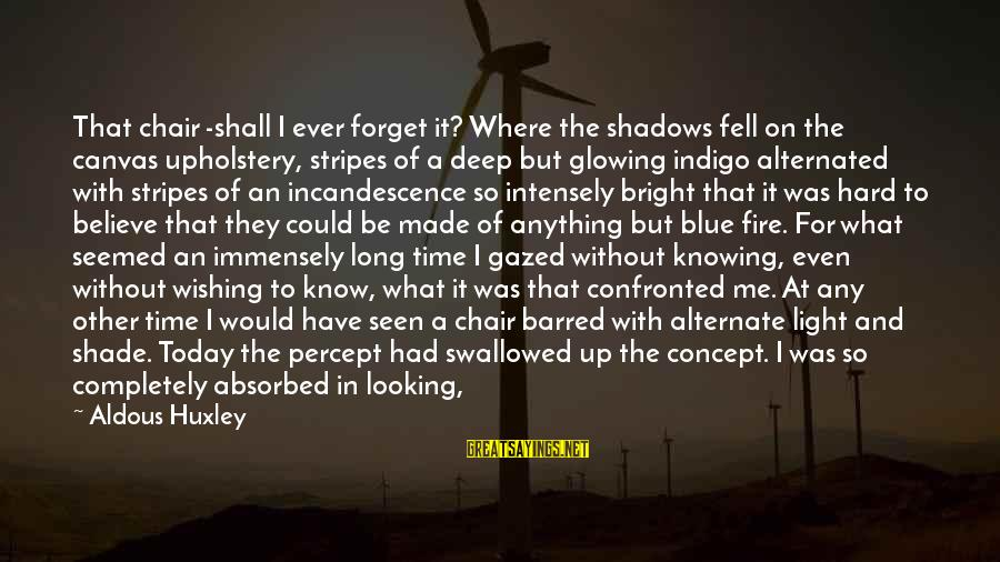 Wishing For More Time Sayings By Aldous Huxley: That chair -shall I ever forget it? Where the shadows fell on the canvas upholstery,