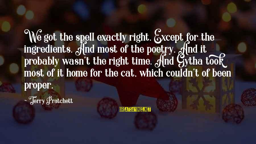 Witches Spell Sayings By Terry Pratchett: We got the spell exactly right. Except for the ingredients. And most of the poetry.