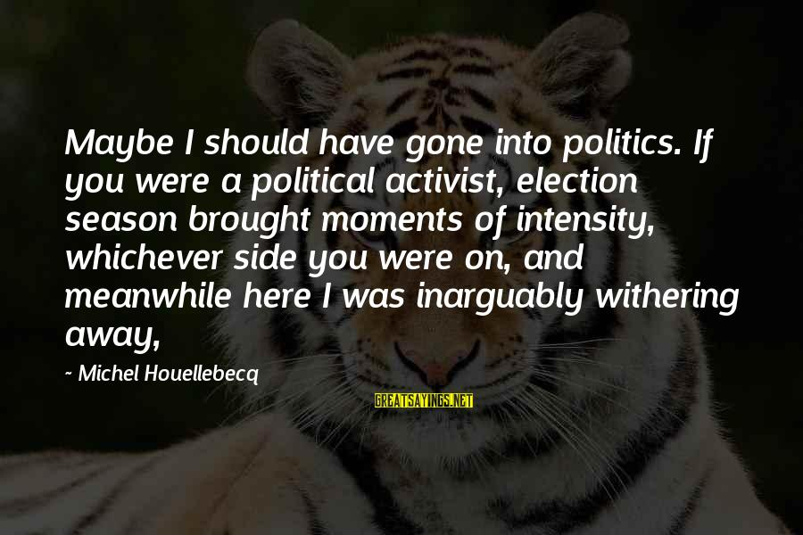 Withering Away Sayings By Michel Houellebecq: Maybe I should have gone into politics. If you were a political activist, election season