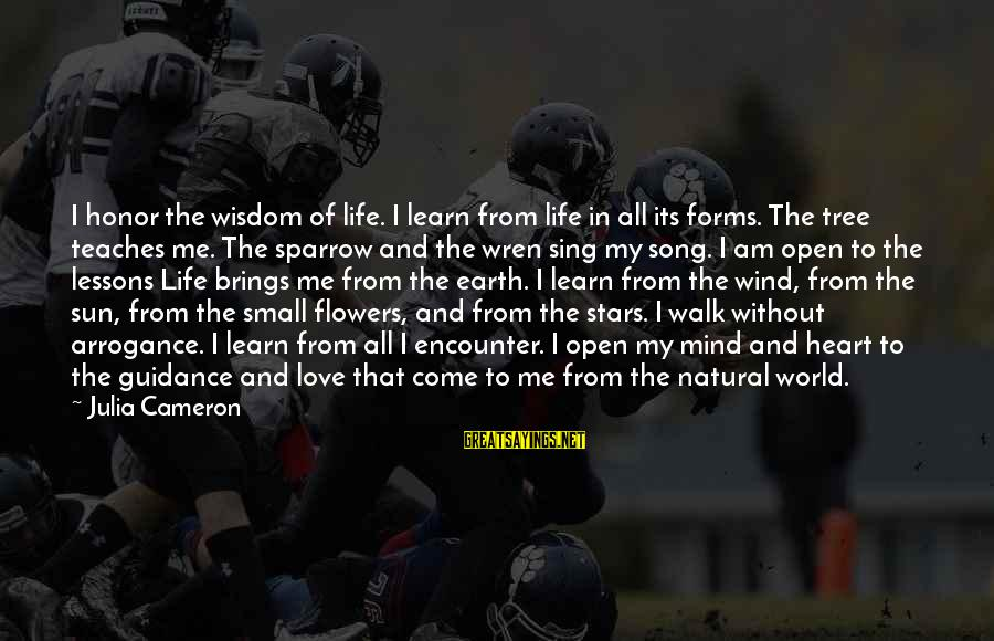 Without Sun Sayings By Julia Cameron: I honor the wisdom of life. I learn from life in all its forms. The
