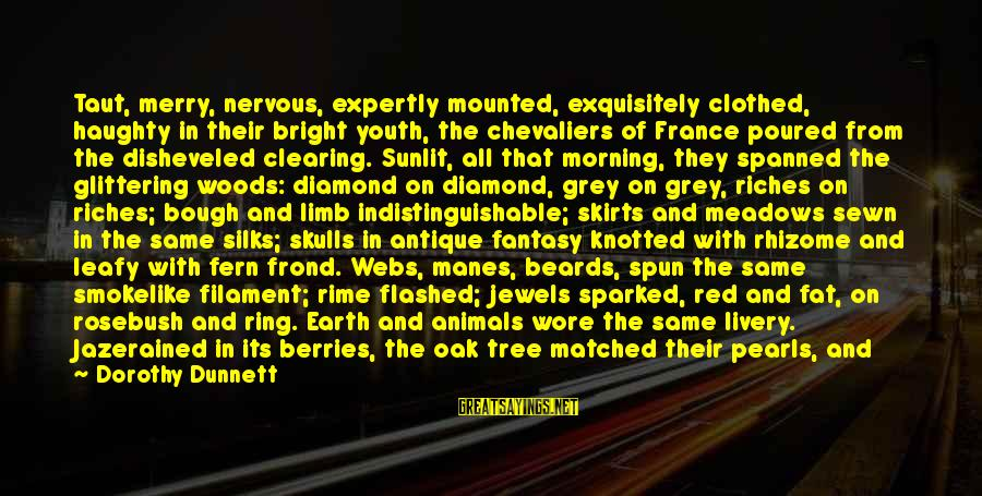 With'ring Sayings By Dorothy Dunnett: Taut, merry, nervous, expertly mounted, exquisitely clothed, haughty in their bright youth, the chevaliers of
