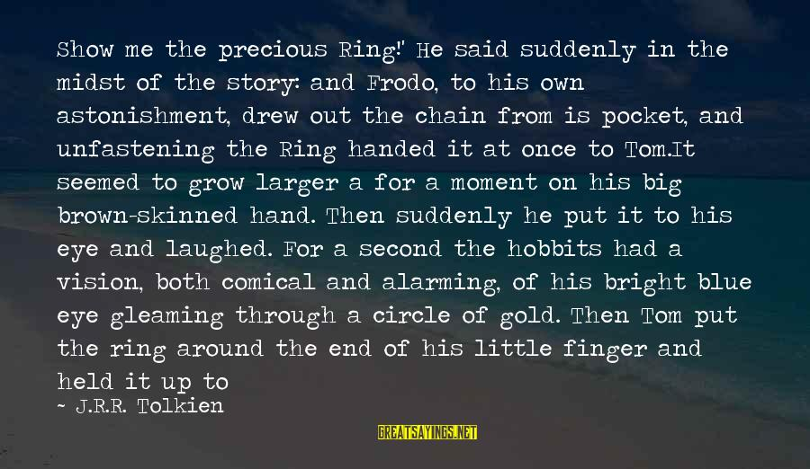 With'ring Sayings By J.R.R. Tolkien: Show me the precious Ring!' He said suddenly in the midst of the story: and
