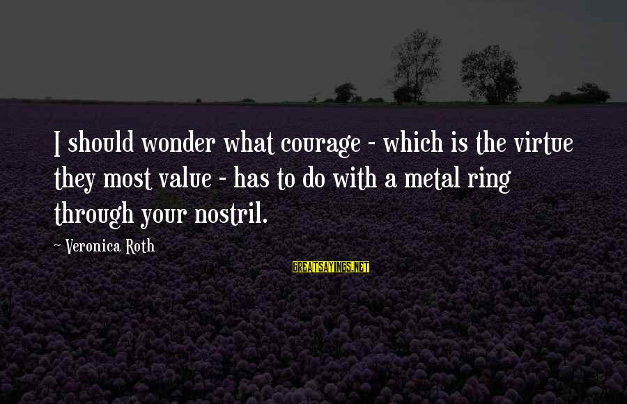With'ring Sayings By Veronica Roth: I should wonder what courage - which is the virtue they most value - has