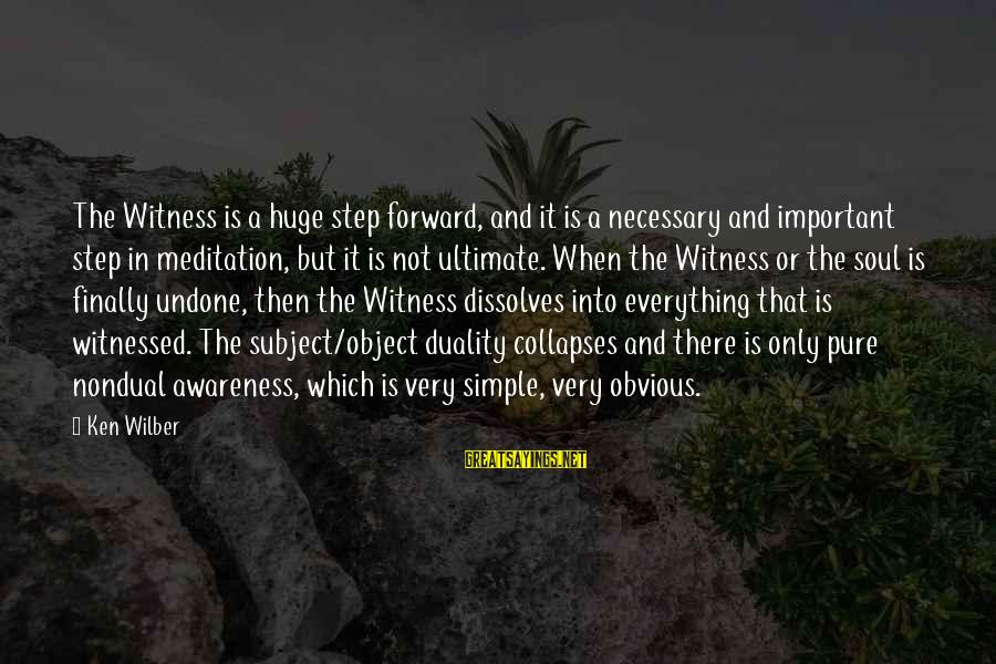 Witnessed Sayings By Ken Wilber: The Witness is a huge step forward, and it is a necessary and important step