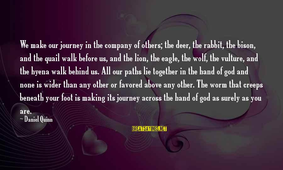 Wolf And Eagle Sayings By Daniel Quinn: We make our journey in the company of others; the deer, the rabbit, the bison,