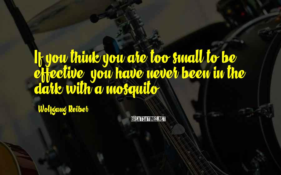 Wolfgang Reiber Sayings: If you think you are too small to be effective, you have never been in