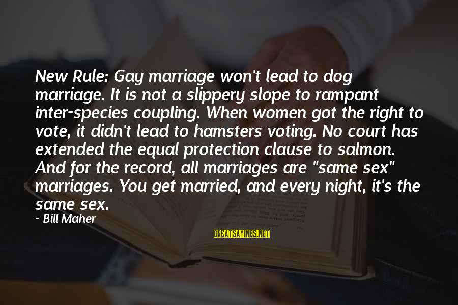 Women's Right Vote Sayings By Bill Maher: New Rule: Gay marriage won't lead to dog marriage. It is not a slippery slope