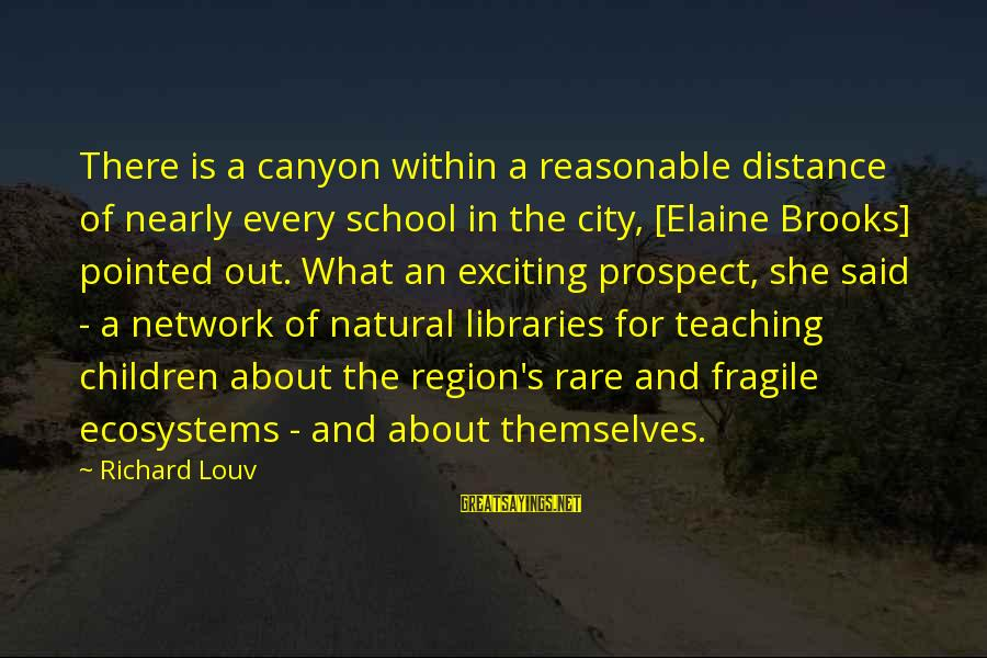 Wooh Sayings By Richard Louv: There is a canyon within a reasonable distance of nearly every school in the city,