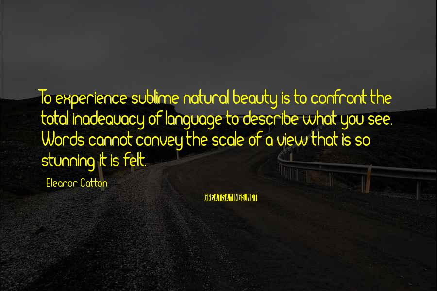 Words To Describe You Sayings By Eleanor Catton: To experience sublime natural beauty is to confront the total inadequacy of language to describe
