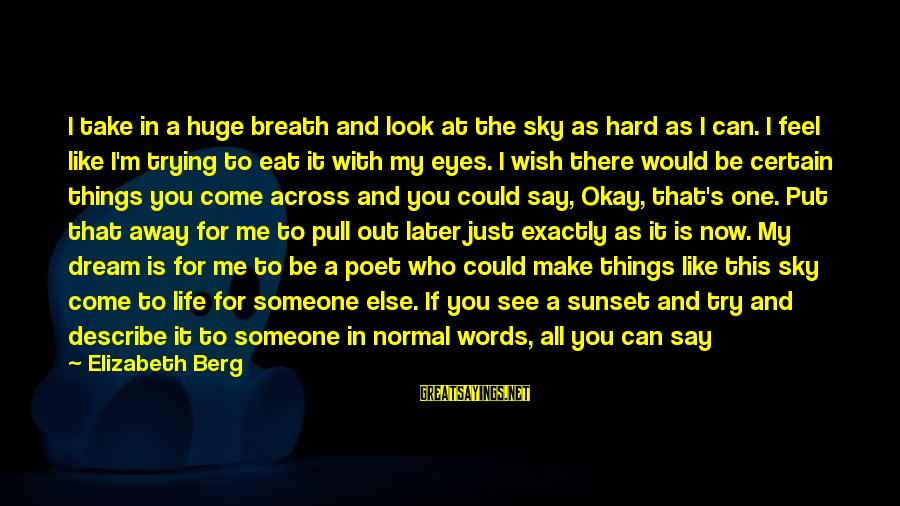 Words To Describe You Sayings By Elizabeth Berg: I take in a huge breath and look at the sky as hard as I