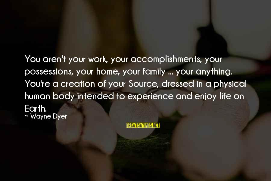Work And Family Sayings By Wayne Dyer: You aren't your work, your accomplishments, your possessions, your home, your family ... your anything.