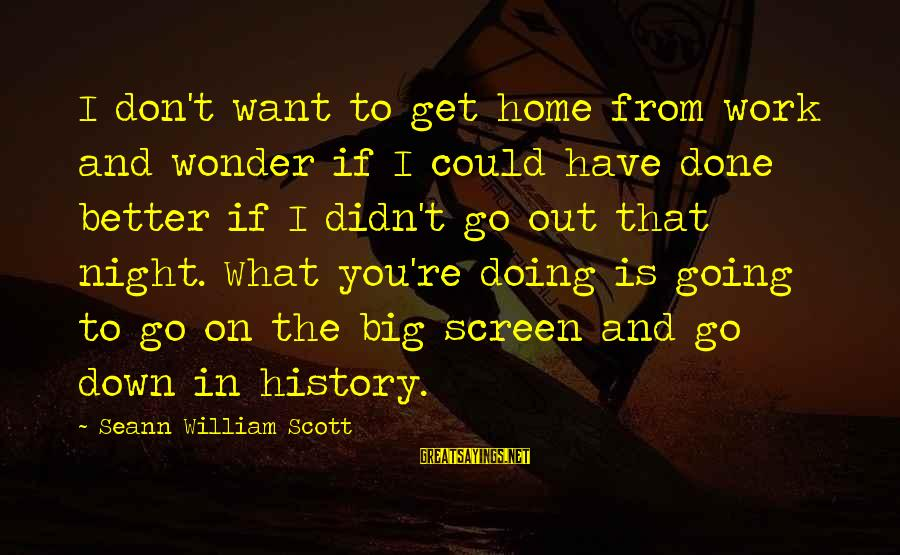 Work Night Out Sayings By Seann William Scott: I don't want to get home from work and wonder if I could have done