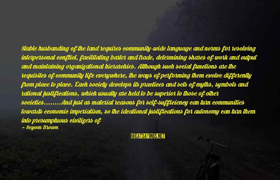 Work Output Sayings By Seyom Brown: Stable husbanding of the land requires community-wide language and norms for resolving interpersonal conflict, facilitating
