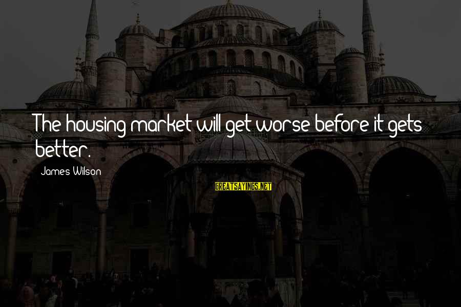 Worse Before It Gets Better Sayings By James Wilson: The housing market will get worse before it gets better.