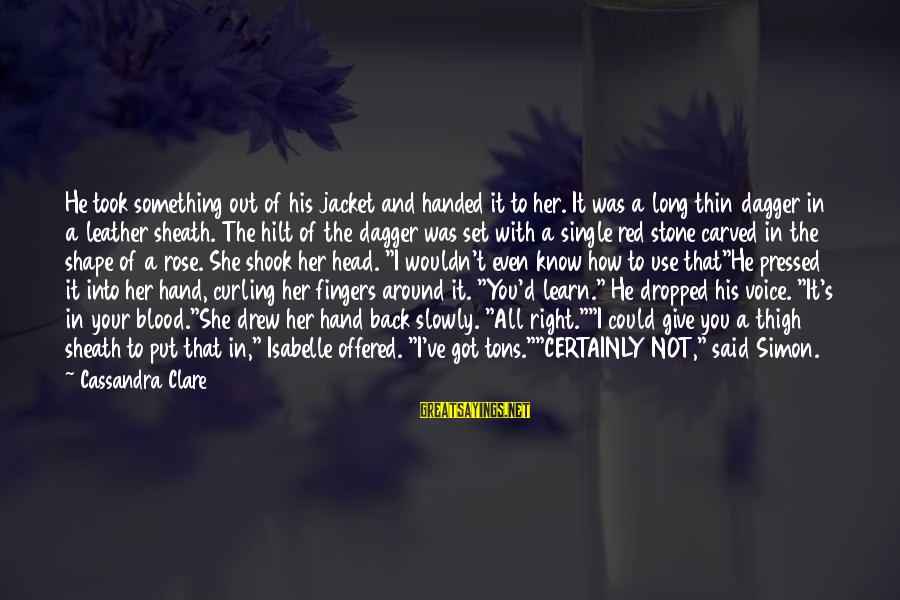 Wouldn't've Sayings By Cassandra Clare: He took something out of his jacket and handed it to her. It was a