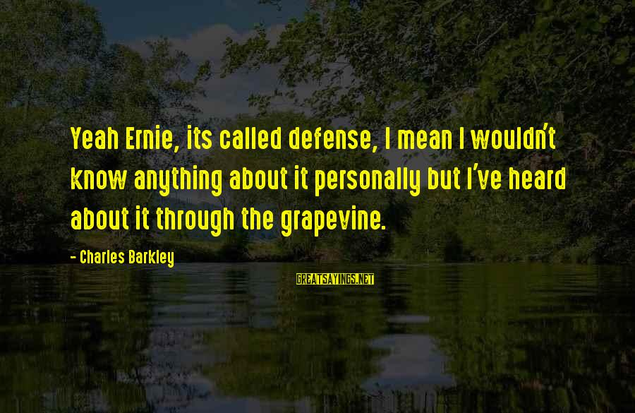 Wouldn't've Sayings By Charles Barkley: Yeah Ernie, its called defense, I mean I wouldn't know anything about it personally but