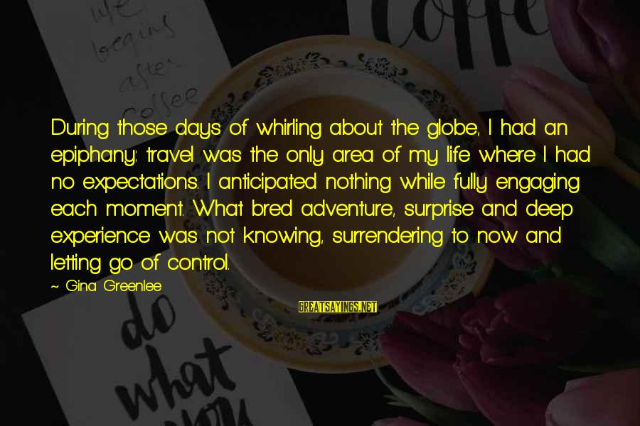 Writing About Life Sayings By Gina Greenlee: During those days of whirling about the globe, I had an epiphany: travel was the