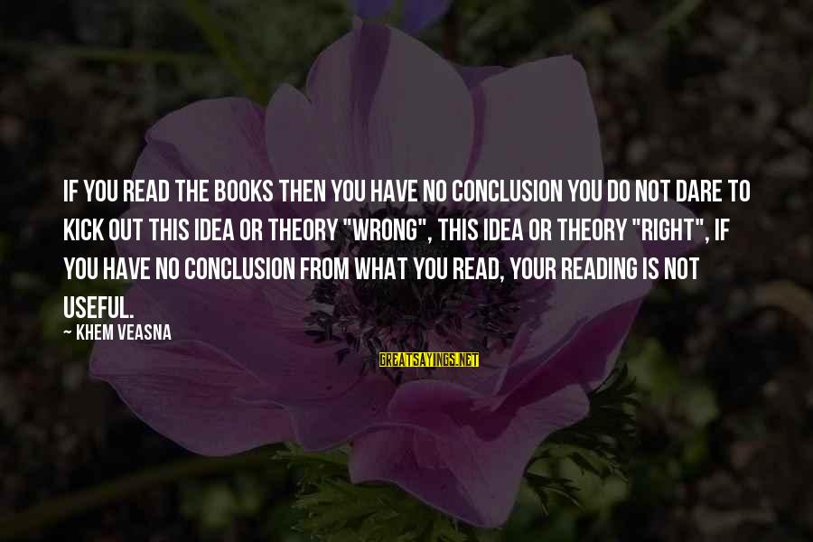 Wrong Conclusion Sayings By Khem Veasna: If you read the books then you have no conclusion you do not dare to