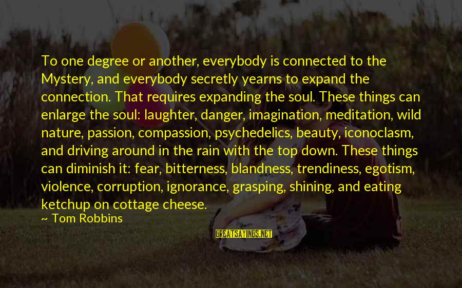 Yearns Sayings By Tom Robbins: To one degree or another, everybody is connected to the Mystery, and everybody secretly yearns