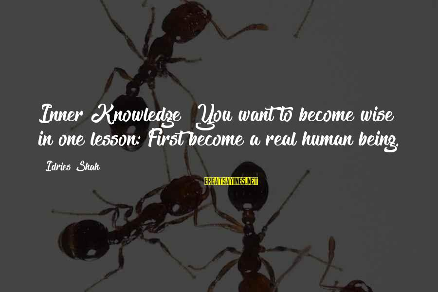 Yoga Meditation Sayings By Idries Shah: Inner Knowledge You want to become wise in one lesson: First become a real human