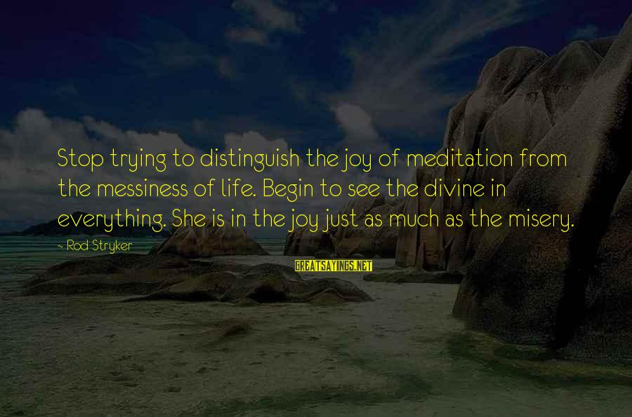 Yoga Meditation Sayings By Rod Stryker: Stop trying to distinguish the joy of meditation from the messiness of life. Begin to
