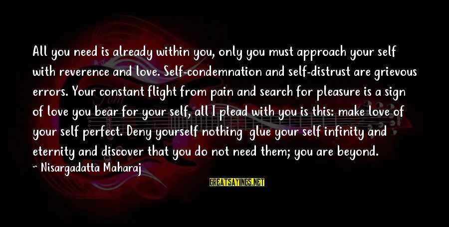 You Are All I Need Love Sayings By Nisargadatta Maharaj: All you need is already within you, only you must approach your self with reverence