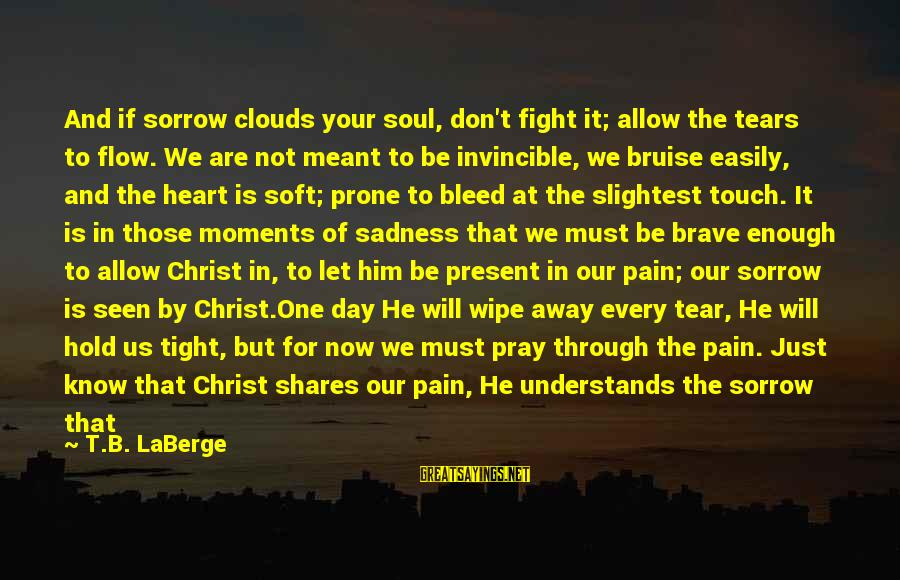 You Are Enough For Me Sayings By T.B. LaBerge: And if sorrow clouds your soul, don't fight it; allow the tears to flow. We