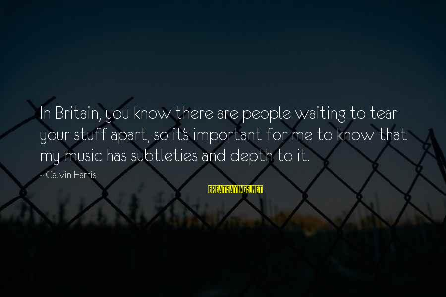 You Are Important For Me Sayings By Calvin Harris: In Britain, you know there are people waiting to tear your stuff apart, so it's
