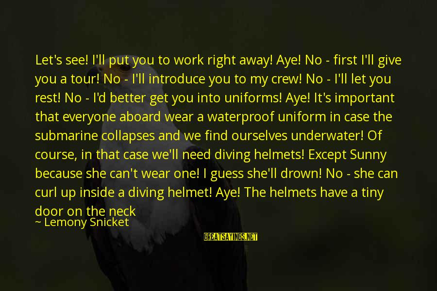 You Are Important For Me Sayings By Lemony Snicket: Let's see! I'll put you to work right away! Aye! No - first I'll give