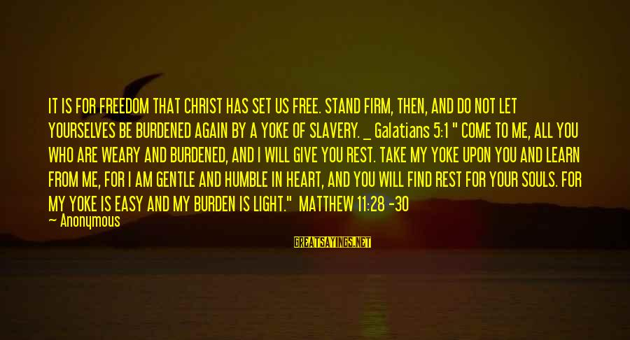 You Are Set Free Sayings By Anonymous: IT IS FOR FREEDOM THAT CHRIST HAS SET US FREE. STAND FIRM, THEN, AND DO
