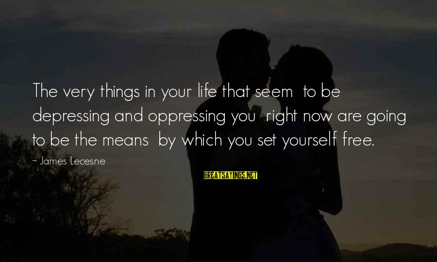 You Are Set Free Sayings By James Lecesne: The very things in your life that seem to be depressing and oppressing you right