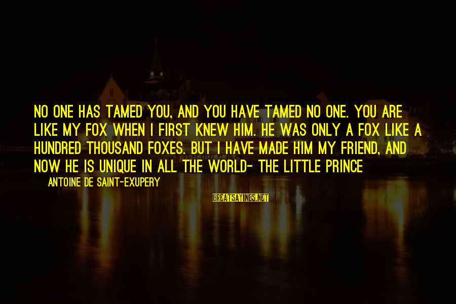 You Are The Only Friend Sayings By Antoine De Saint-Exupery: No one has tamed you, and you have tamed no one. You are like my