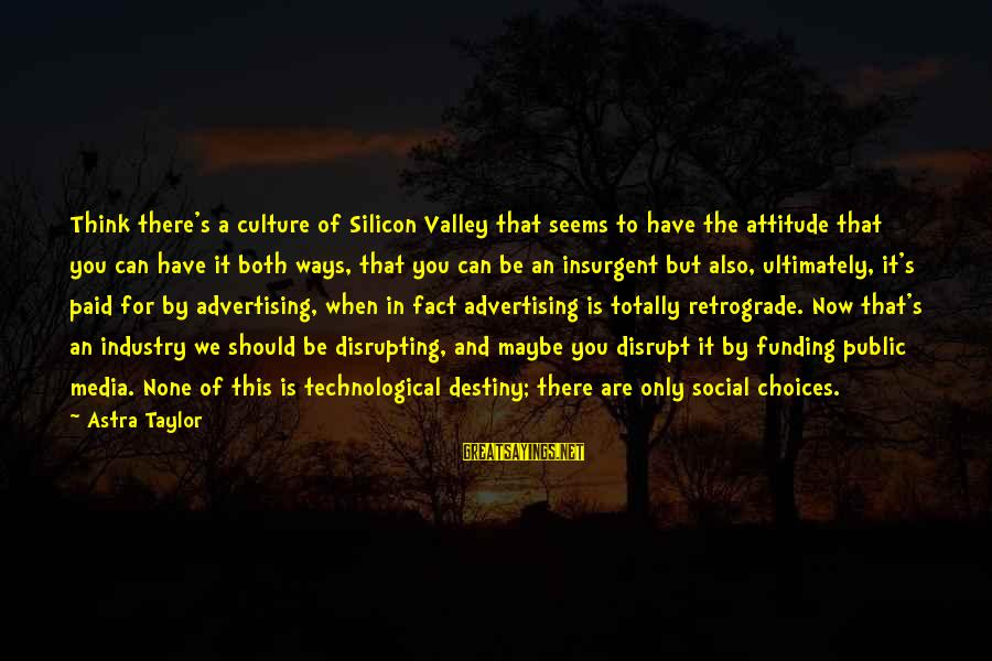 You Can Have It Both Ways Sayings By Astra Taylor: Think there's a culture of Silicon Valley that seems to have the attitude that you