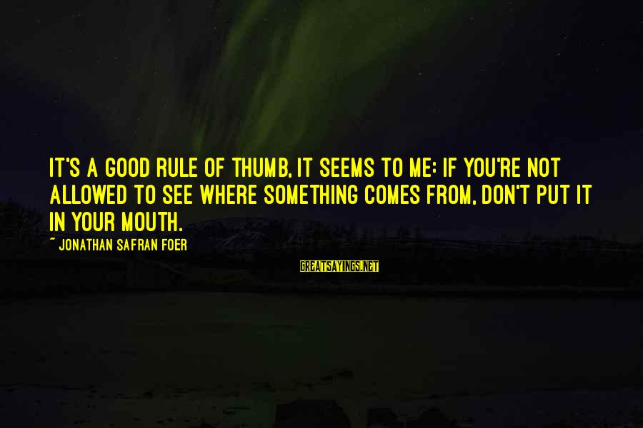 You Don't See Me Sayings By Jonathan Safran Foer: It's a good rule of thumb, it seems to me: if you're not allowed to