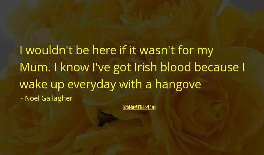 You Gotta Work Hard Sayings By Noel Gallagher: I wouldn't be here if it wasn't for my Mum. I know I've got Irish
