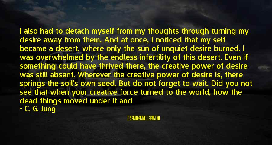 You Have Power Sayings By C. G. Jung: I also had to detach myself from my thoughts through turning my desire away from